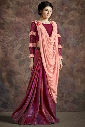 Two Tone Pink Color Party Wear Fancy Saree