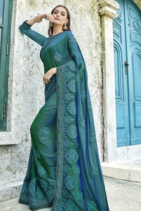 Two Tone Silk Blue Festive Saree Online
