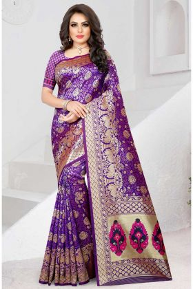 Two Tone Soft Silk Designer Saree Purple Color