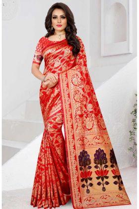 Two Tone Soft Silk Designer Saree Red Color