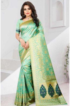 Two Tone Soft Silk Festive Saree Pista Color In Jacquard Work