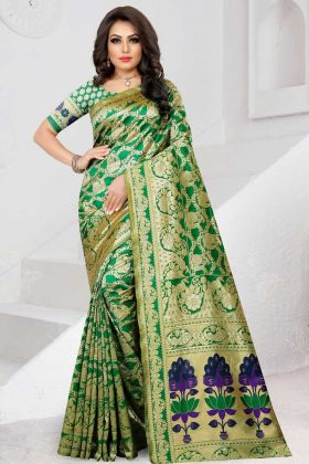 Two Tone Soft Silk Traditional Saree Green Color