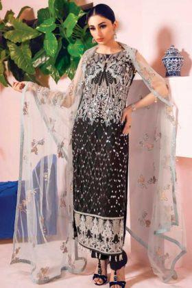 Un Stitched Faux Georgette Pakistani Dress In Black Color