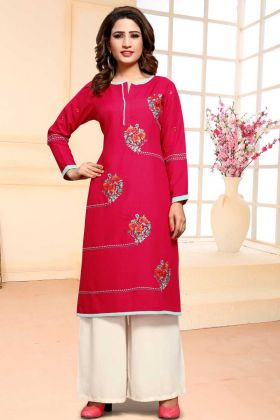 Un Stitched Rani Pink Cotton Palazzo Suit