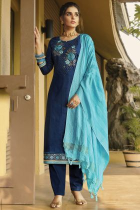 Unique And Fancy Designer Blue Color Zam Silk Cotton Salwar Dress