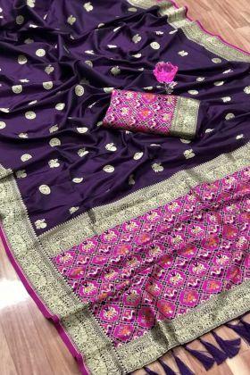 Unique And Fancy Designer Purple Weaving South Silk Wedding Saree
