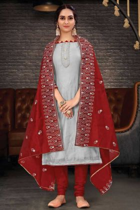 Unique Designer Chanderi Salwar Suit In Grey Color