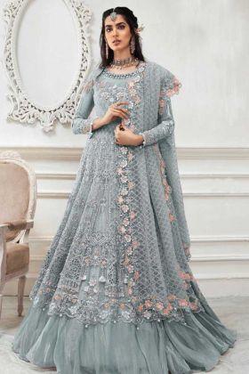 Unique Designer Heavy Butterfly Grey Net Suit For Engagement