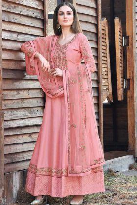 Unique Designer Light Pink Color Dola Silk Heavy Embroidered Anarkali Suit