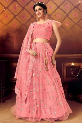 Unique Designer Pink Soft Net Lehenga Choli In Lowest Range