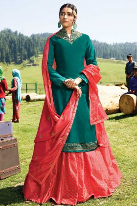 Unique Designer Satin Georgette Teal Blue Color Heavy Salwar Kameez