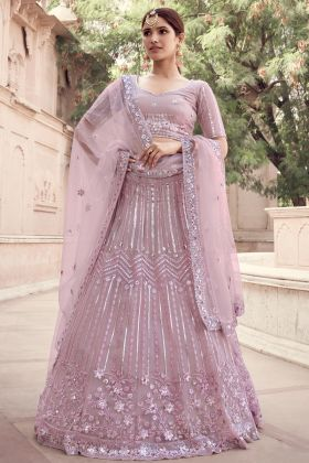 Unique Designer Wedding Soft Net Lehenga Choli Arrival In Lilac Color