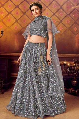 Unique Party Wear Grey Soft Net Lehenga Choli For Pretty Look