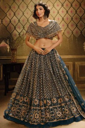 Unique Fancy Party Wear Heavy Rama Green Soft Net Lehenga Choli