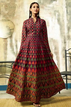 Unique Wine Color Pure Chanderi Digital Printed Gown