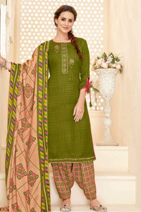 UnStitched Pure Pashmina Punjabi Dress Material Mahendi Green Color
