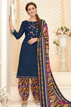 UnStitched Pure Pashmina Punjabi Dress Material Navy Blue Color