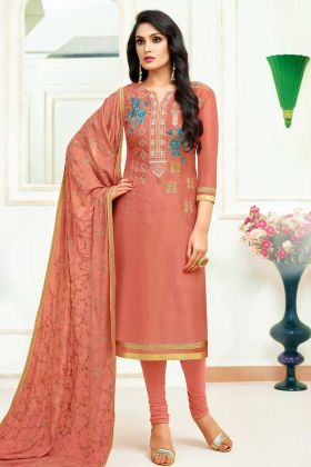 Upada Silk Churidar Salwar Suit Coral Color Embroidery Work With Organza Dupatta