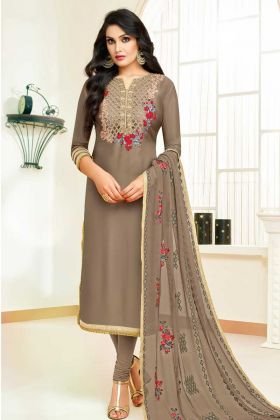 Upada Silk Churidar Suit Beige Color With Embroidery Work