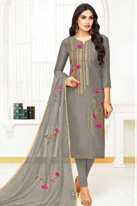 Upada Silk Churidar Suit Grey Color With Organza Dupatta