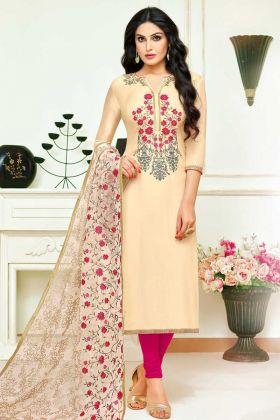 Upada Silk Salwar Kameez  Cream Color With Embroidery Work