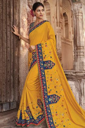 Upcoming Fashion Dola Silk Yellow Embroidery Women Saree