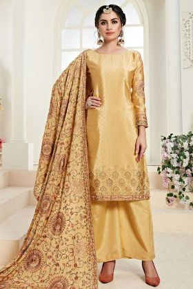 Upcoming Fashion Light Yellow Chinon Palazzo Suit Design