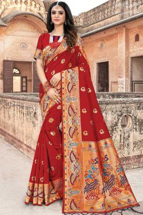 Upcoming Fashion Weaving Work Art Silk Red Saree