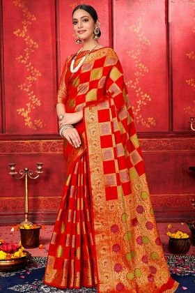 Upcoming Festive Season Banarasi Silk Wedding Saree In Red