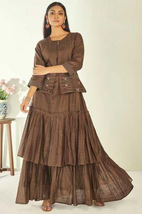 Upcoming Party Collection Copper Gold Khanak Slub Suit