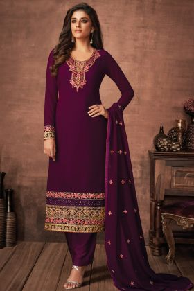 Upcoming Party Collection Darkscarlet Color Foux Georgette Salwar Suit