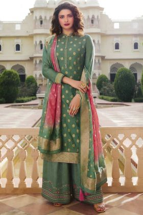Upcoming Party Collction Light Green Jacquard Silk Salwar Suit