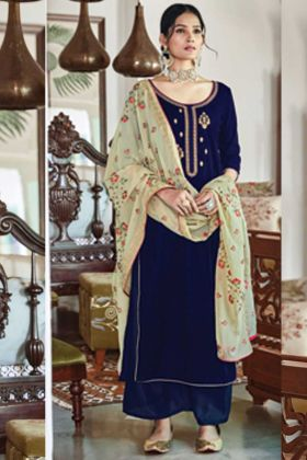 Upcoming Party Collection Navy Blue Falcon Velvet Salwar Suit
