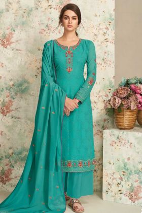 Upcoming Party Event Wear Rama Green Real Georgette Plazzo Suit