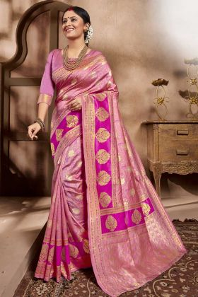 Upcoming Season Pink Cotton Silk Wedding Saree Designs
