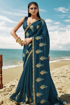 Upcoming Trends Blue Soft Art Silk Thread Embroidery Saree