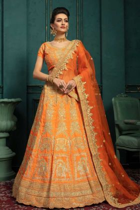 Upcoming Trends Orange Malbari Silk Wedding Lehenga With Net Dupatta
