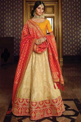 Upcoming Wedding Collection Beige Silk Fabric Bridal Lehenga Choli