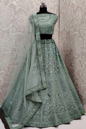 Upcoming Wedding Collection Light Green Bridal Net Lehenga Choli