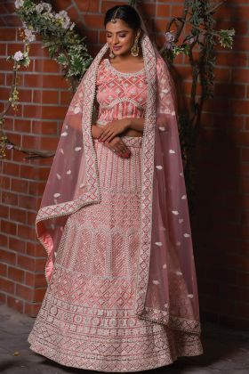 Upcoming Wedding Collection Peach Color Net Fabric Lehenga Choli