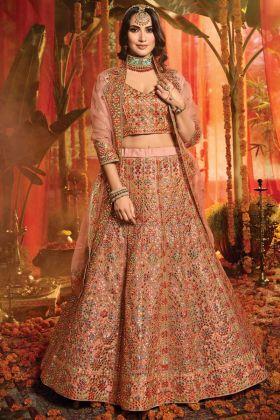 Upcoming Wedding Collection Peach Color Pure Organza Bridal Lehenga Choli