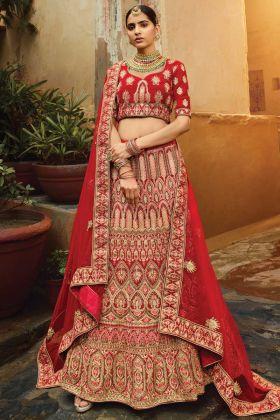 Upcoming Wedding Collection Red Pure Velvet Bridal Lehenga Choli