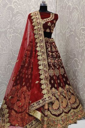 Upcoming Wedding Season Maroon Bridal Lehenga In Velvet Fabric