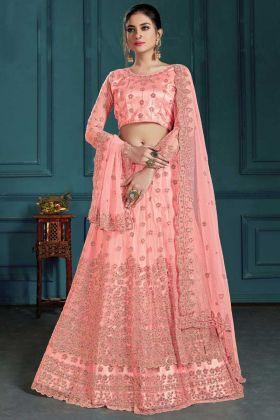 Upcoming Wedding Season Net Fabric Pink Color Lehenga Choli