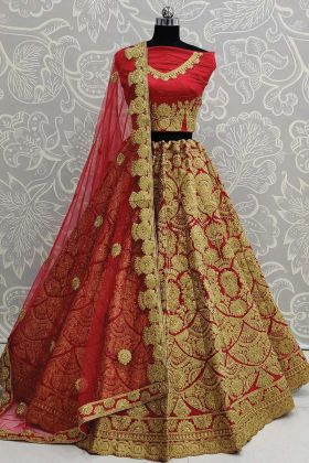 Upcoming Wedding Season Red Bridal Lehenga In Art Silk Fabric