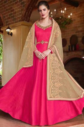 Upcoming Fashion Banarasi Silk Designer Anarkali Salwar Kameez Embroidery Work In Pink Color