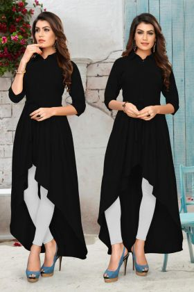 Upcoming Fashion Black Color Fancy Designer Kurti With Rayon Fabric