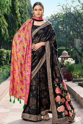 Upcoming Fashion Chanderi Silk Black Saree With Shawl