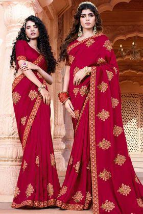 Upcoming Fashion Magenta Pink Art Silk Party Wear Saree