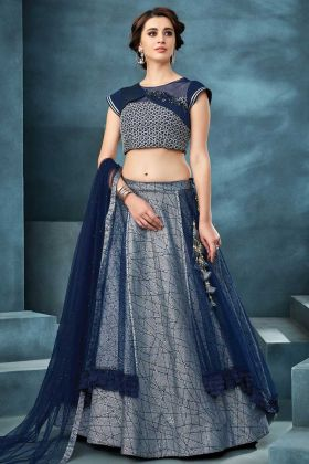 Value Addition Fabric And Net And Blue Lehenga Choli